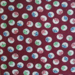 Circles on Burgundy Feedsack