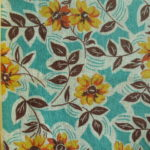 Yellow Flowers on Turquoise Small Feedsack
