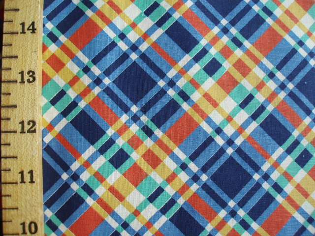 Blue, Orange & Green Diagonal Plaid Piece | AntiqueFabric.com