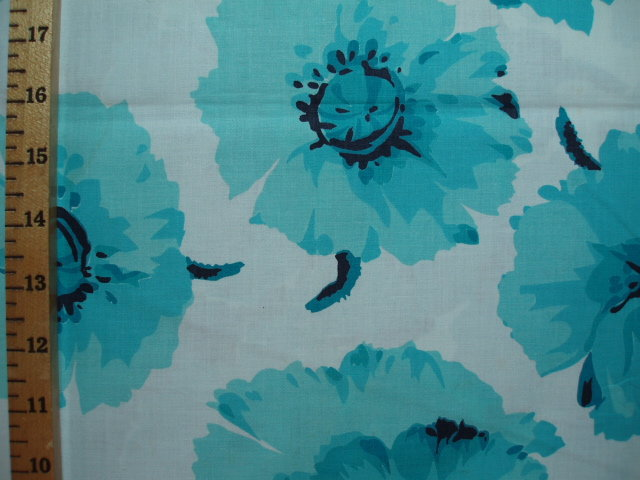 Large Turquoise Flower Border Print Antiquefabric Com