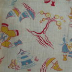 Yellow & Blue Oriental Feedsack